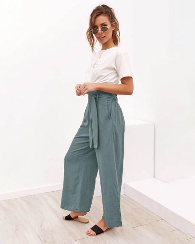 Light green Women's wide leg pants casual long pants