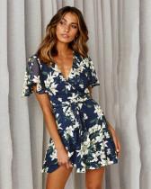 Bule Short sleeve deep V print sexy dress