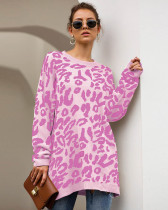 Pink New Leopard Print Loose Sweater Pullover