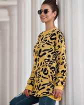 Yellow New Leopard Print Loose Sweater Pullover