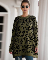 Army green New Leopard Print Loose Sweater Pullover