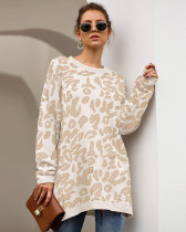 White New Leopard Print Loose Sweater Pullover