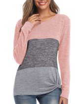 Pink Loose contrast color twist casual T-shirt