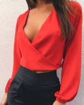 Red Sexy slim waist long sleeve knotted dress
