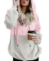 Pink Zipper hooded plush color block loose coat