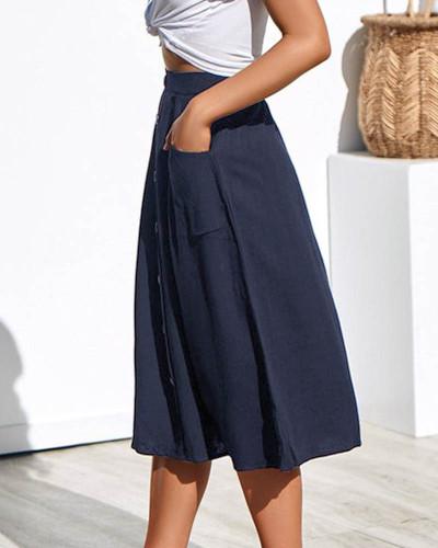 Dark bule Loose pocket all-match black plus size woolen skirt