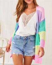 Colorful rainbow stitching cardigan cardigan jacket
