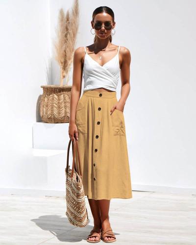 Yellow Loose pocket all-match black plus size woolen skirt