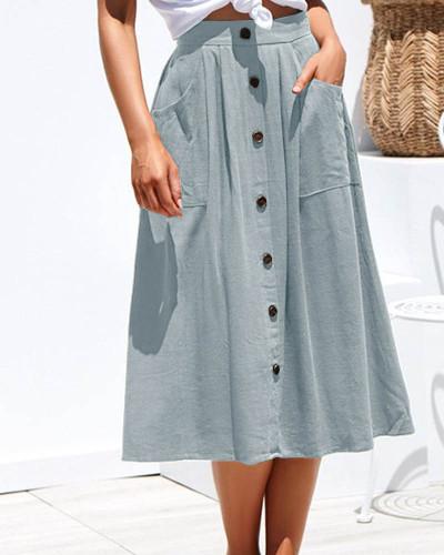 Light bule Loose pocket all-match black plus size woolen skirt