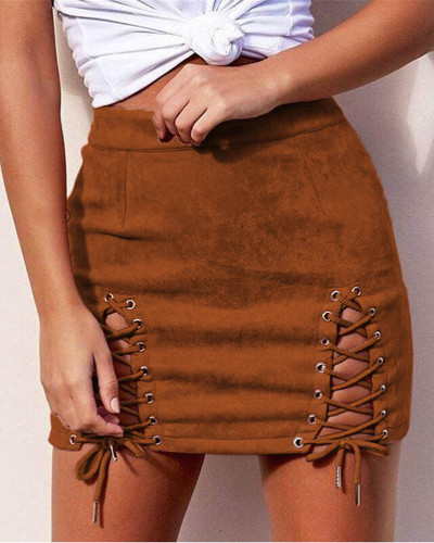 Brown Suede strap sexy bag hip skirt
