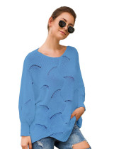 Bule Long-sleeved round neck loose irregular knitted sweater