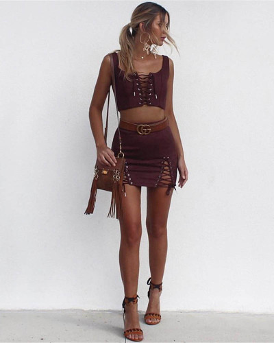 Maroon Suede strap sexy bag hip skirt