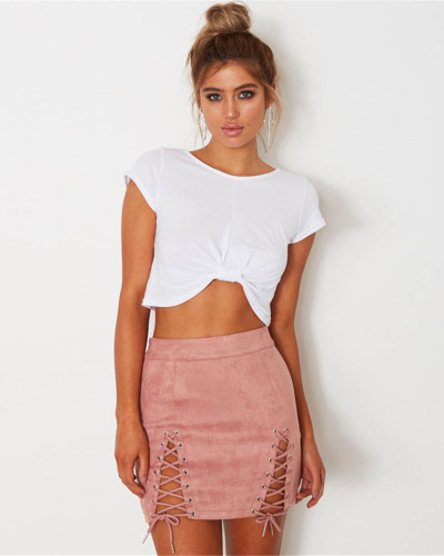 Pink Suede strap sexy bag hip skirt