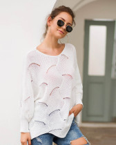 White Long-sleeved round neck loose irregular knitted sweater