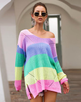 Pink Rainbow Colorblock Loose Long Sleeve Pullover