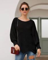 Black Long-sleeved round neck loose irregular knitted sweater
