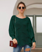 Green Long-sleeved round neck loose irregular knitted sweater