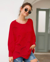 Red Long-sleeved round neck loose irregular knitted sweater