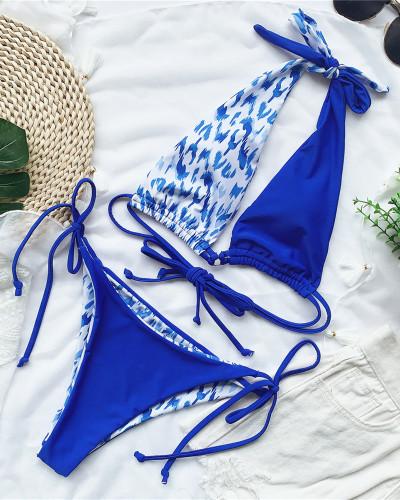 Blue Leopard print swimsuit