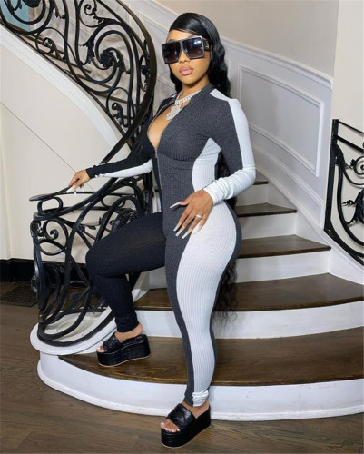 Black Sexy slim-fit pack hips color matching pit strip tight-fitting jumpsuit