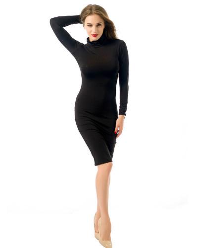 Black Long sleeve sexy women's nightclub solid color dress