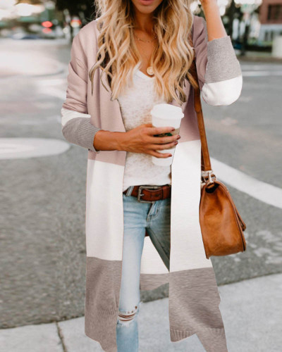 Gray Three-color stitching cardigan jacket spring and summer sweater