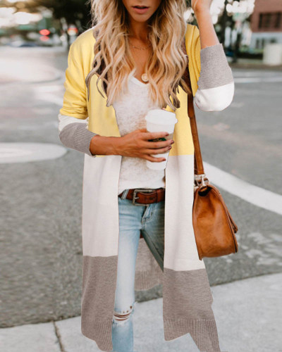 Yellow Three-color stitching cardigan jacket spring and summer sweater