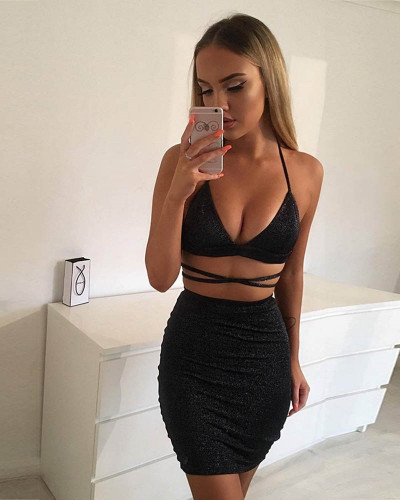 Black Sexy nightclub sling bag hip dress