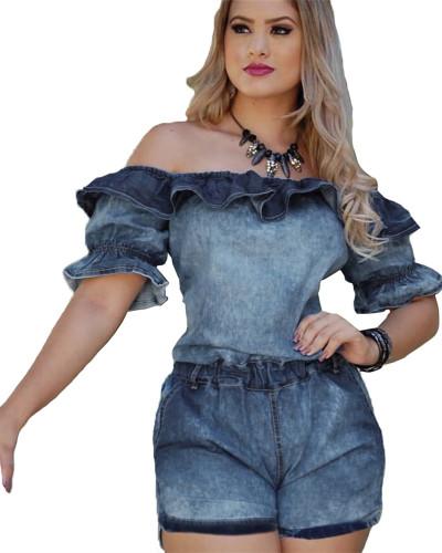 Blue Slim-fit denim jumpsuit with lotus leaf sleeves