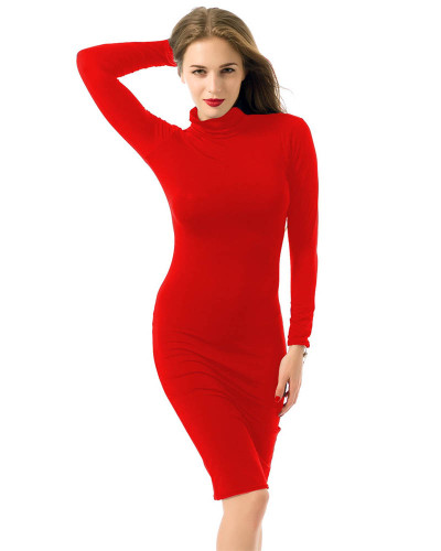 Red Long sleeve sexy women's nightclub solid color dress