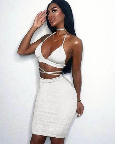 White Sexy nightclub sling bag hip dress