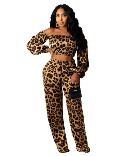 Leopard print two-piece trouser suit