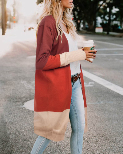 Coffee Three-color stitching cardigan jacket spring and summer sweater