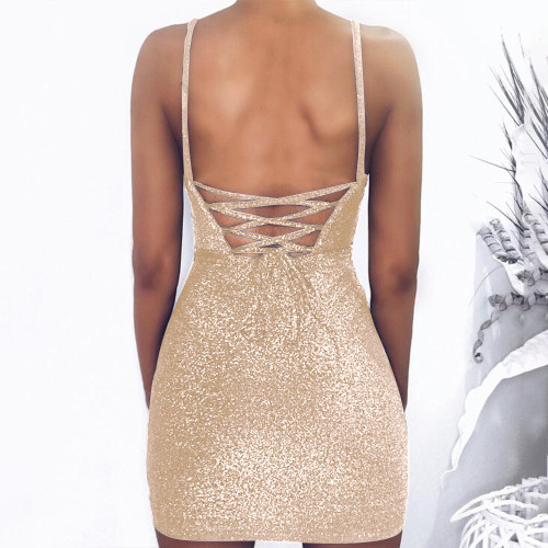 Gloden Sleeveless lace-up slim bright silk dress