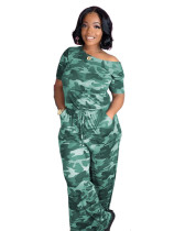 Yellow Fashion camouflage print women's jumpsuit