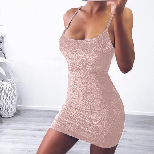 Pink Sleeveless lace-up slim bright silk dress