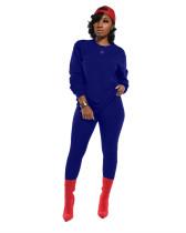 Blue Classic solid color slim fit two-piece suit