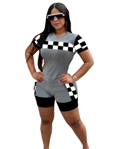 Gray Sports and leisure lattice two-piece suit