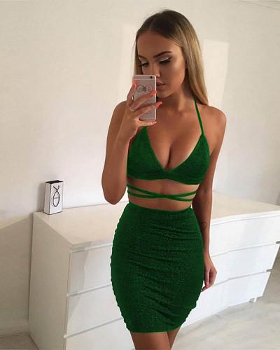 Green Sexy nightclub sling bag hip dress