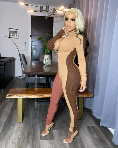 Brown Sexy slim-fit pack hips color matching pit strip tight-fitting jumpsuit