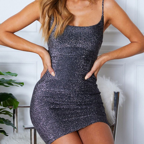 Black Sleeveless lace-up slim bright silk dress