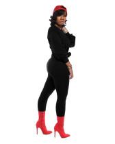 Black Classic solid color slim fit two-piece suit