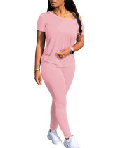 Pink Classic solid color stitching two-piece suit