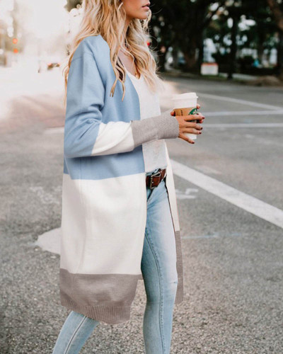 Bule Three-color stitching cardigan jacket spring and summer sweater