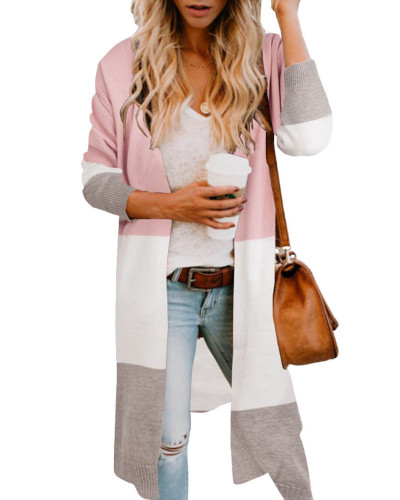 Pink Three-color stitching cardigan jacket spring and summer sweater