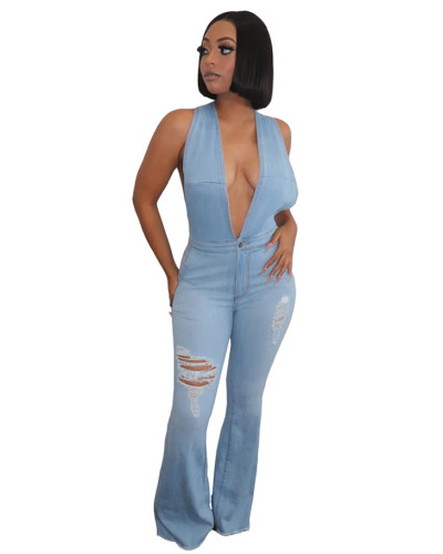 Hole slimming suspender trousers