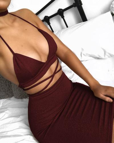 Red Sexy nightclub sling bag hip dress