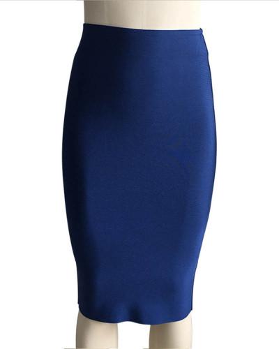 Dark bule Solid color skirt slim sexy bandage hip skirt