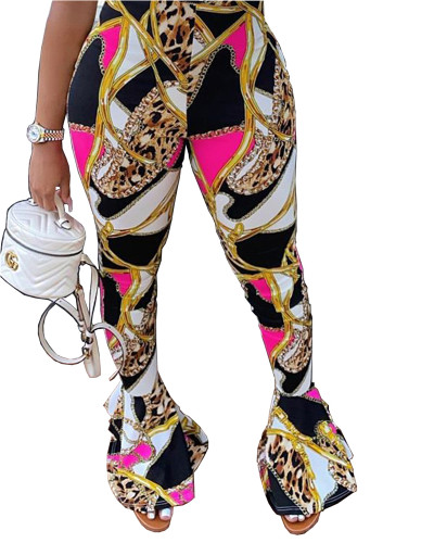Personalized gold chain print casual flared pants