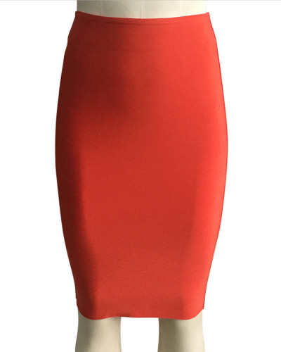 OrangeSolid color skirt slim sexy bandage hip skirt